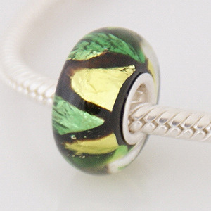 925 Glass Beads - Dichroic - Black, Green & Lime