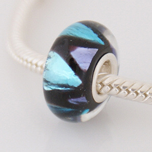 925 Glass Beads - Dichroic - Black, Purple & Blue
