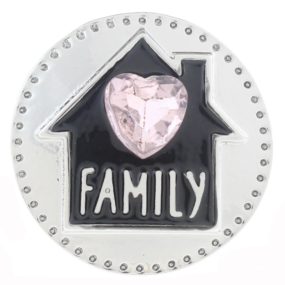 Snap Jewelry Family Love Pink Heart Home 18-20mm Glass