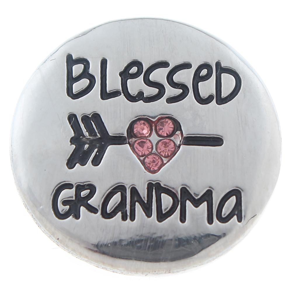 Snap Jewelry Rhinestone Blessed Grandma Pink Heart Arrow