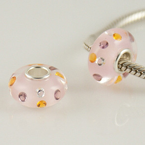 925 Glass Beads - CZ Stone - Pink, Clear, Purple & Orange