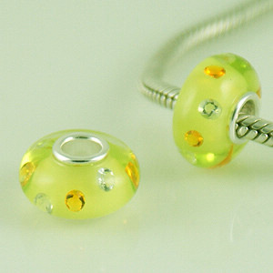 925 Glass Beads - CZ Stone - Yellow, Clear & Orange