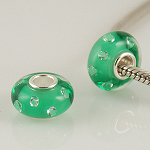 925 Glass Beads - CZ Stone - Green & Clear