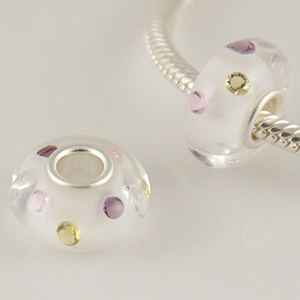 925 Glass Beads - CZ Stone - Clear, Purple, Peridot & Pink