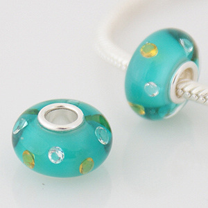 925 Glass Beads - CZ Stone -Teal, Clear & Yellow