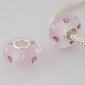 925 Glass Beads - CZ Stone - Pink, Purple & Clear