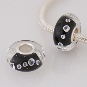 925 Glass Beads - CZ Stone - Black & Clear