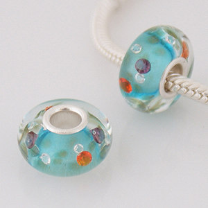925 Glass Beads - CZ Stone - Light Blue, Purple, Orange & Clear