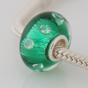925 Glass Beads - CZ Stone Dichroic - Green & Clear