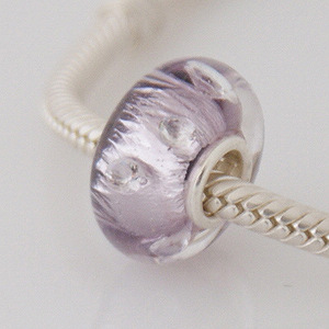 925 Glass Beads - CZ Stone Dichroic - Shades of Purple