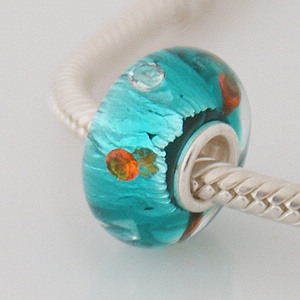 925 Glass Beads - CZ Stone Dichroic - Teal, Clear & Orange