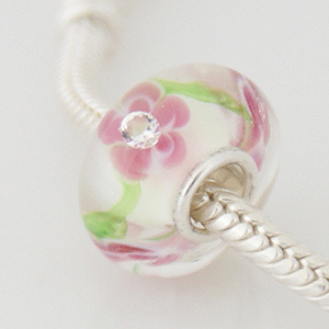 925 Glass Beads - CZ Stone - Flower - Pink