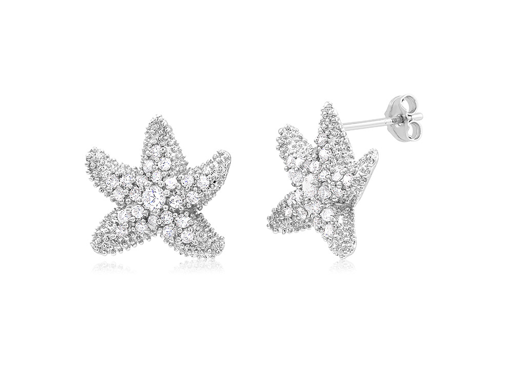 925 - Sterling - Starfish Clear CZ Stud Earrings