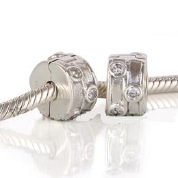 925 - Clip Stopper Charm - CZ Clear & Lines