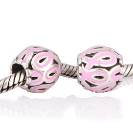 Charm 925 - Silver Round- Pink Ribbon
