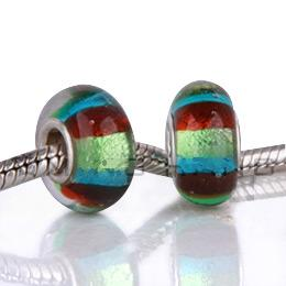 925 Glass Beads - Dichroic Stripes - Teal, Red & Green