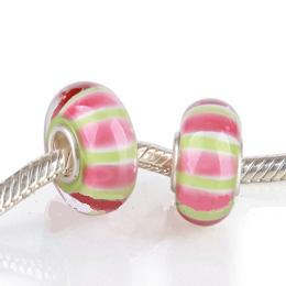 925 Glass Beads- Stripes Pink & Peridot Lime