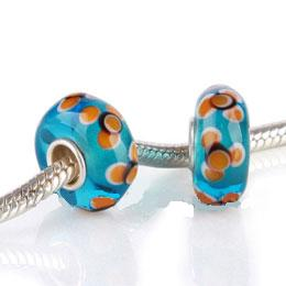 925 Glass Beads - Spots - Teal & Orange