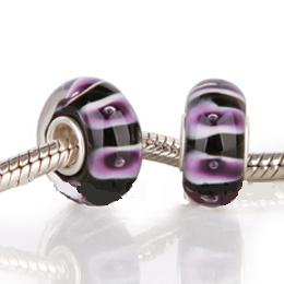 925 Glass Beads - Bubble Stripes - Purple & Black