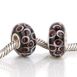 925 Glass Beads - Bubble Spots - Black & Brown