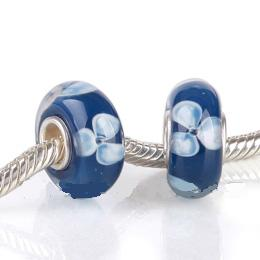 925 Glass Beads - Bubble Flower - Blue & Light Blue