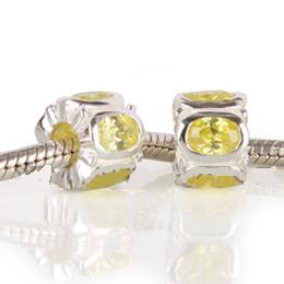 Charm 925 CZ Stone - Rondelle Oval - Yellow