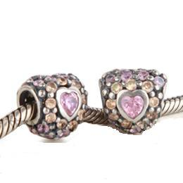 Charm 925 CZ Stone - Heart - Champagne & Light Pink