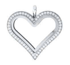 Large Stainless Steel Heart Locket - 30MM - Silver & CZ Accents