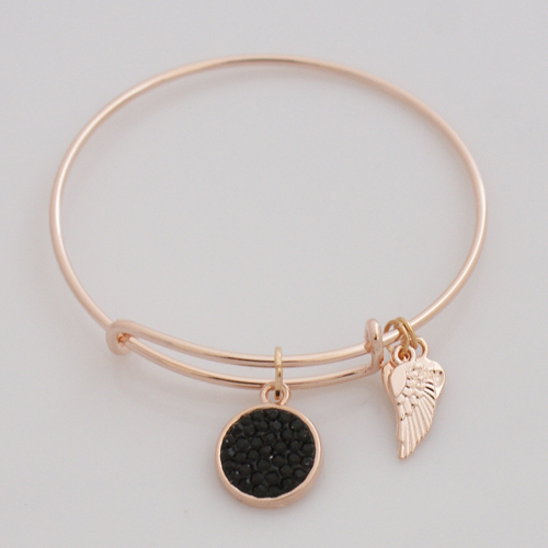 A&A Inspired Crystal Bracelet - Black in Rose Gold