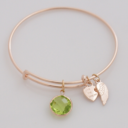 A&A Inspired Zircon Drop - Peridot Green in Rose Gold