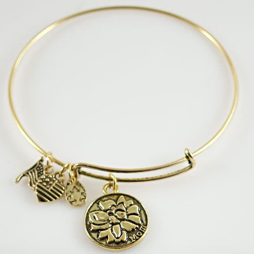 A&A Bracelet - Mom & Flower Gold