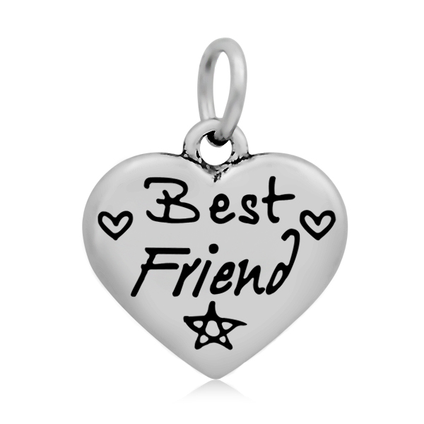 17*21mm Small Stainless Steel Heart Charm - Best Friend