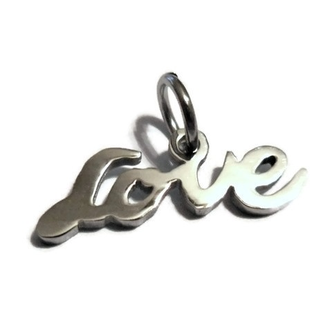 13*22mm Small Stainless Steel Script Charm - Love