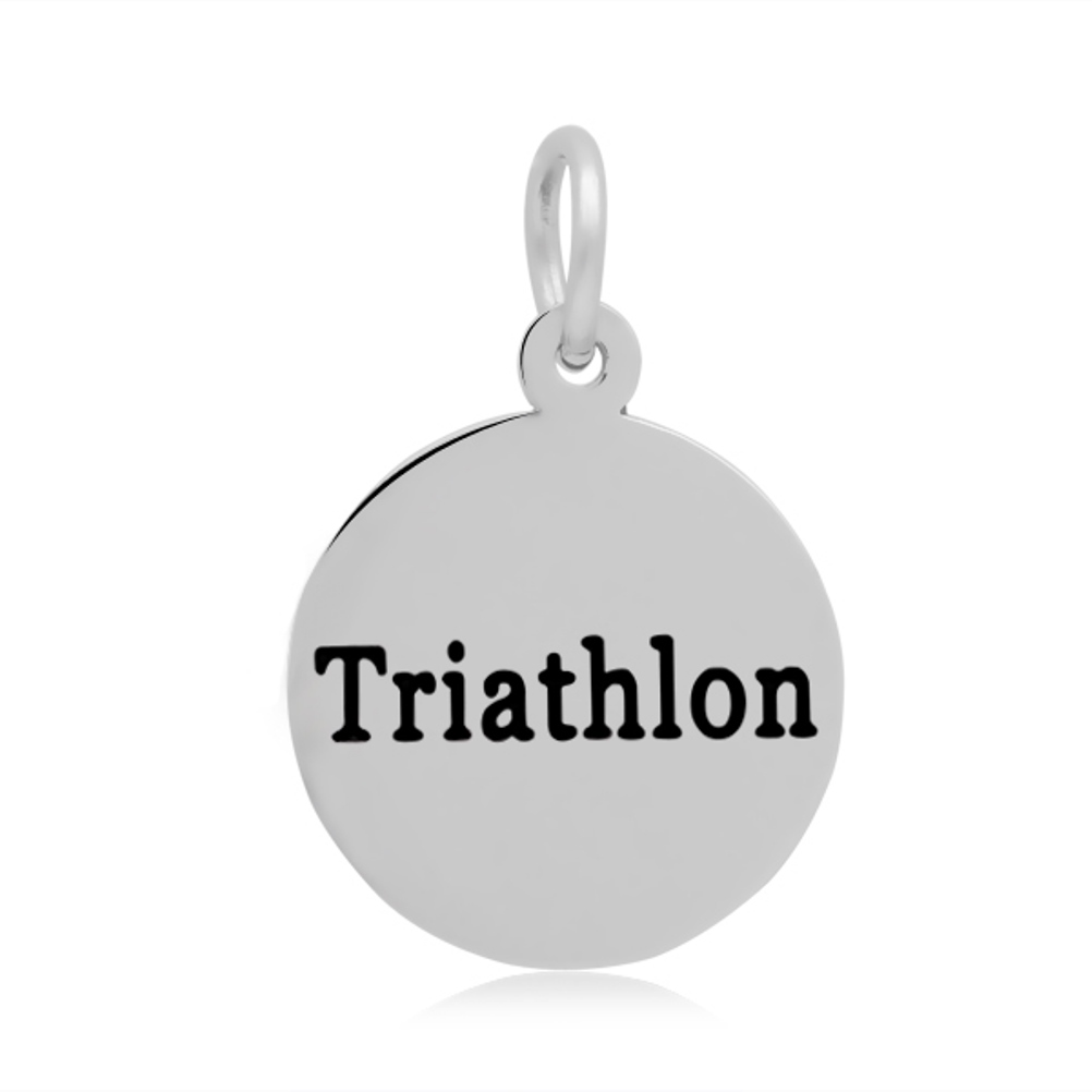 "16*24mm Small Stainless Steel Charm - Round ""Triathlon"""