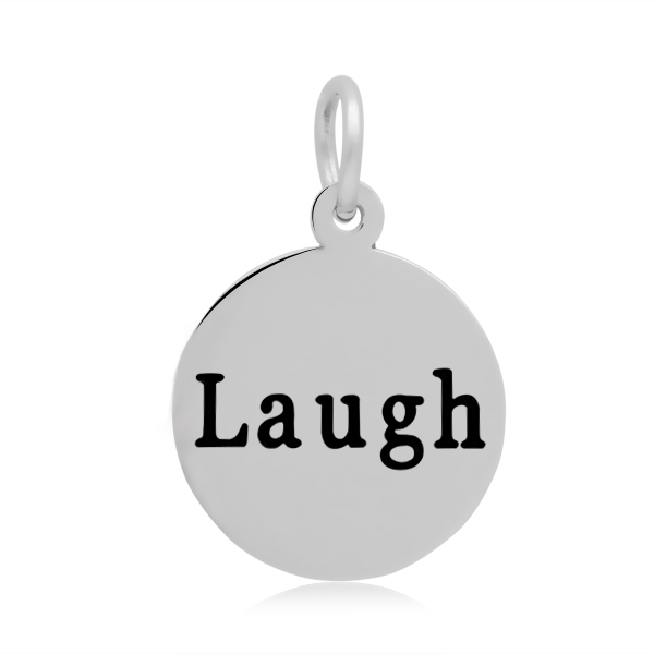 15*23mm Small Stainless Steel Charm - Round Laugh