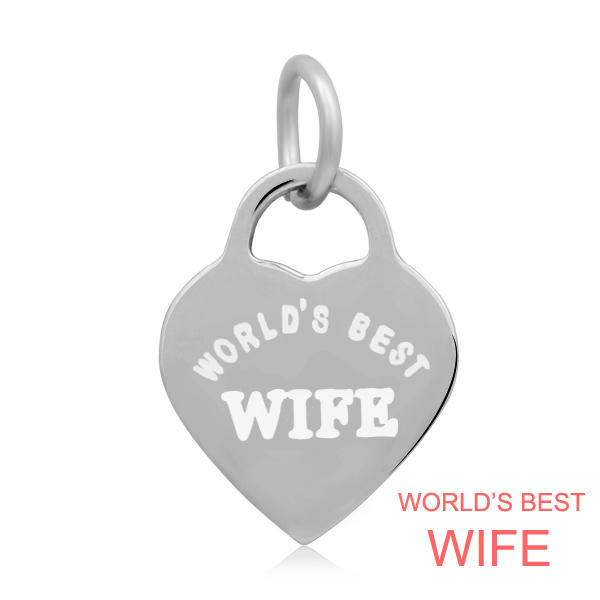14*22mm Small Stainless Steel Heart Charm - World's Best Wife