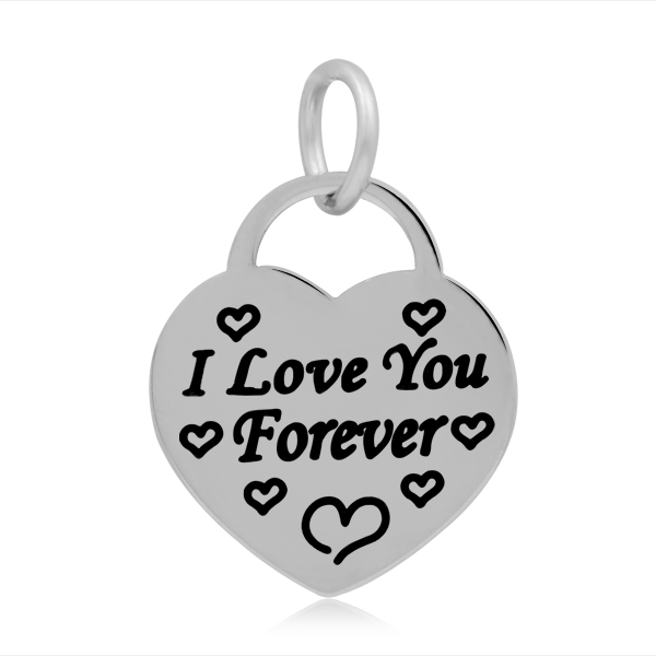 17*25mm Small Stainless Steel Heart Charm - I Love You Forever