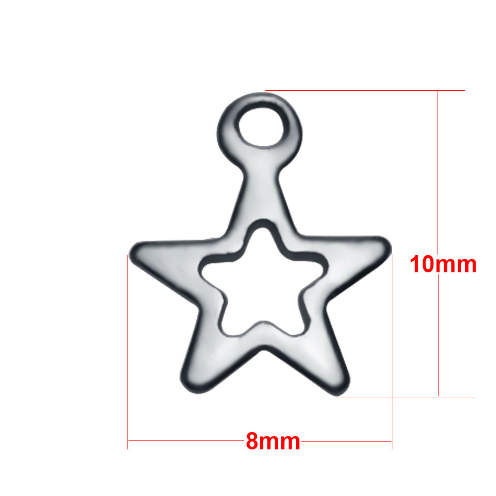 Small Stainless Steel Charm 08*10mm - Star