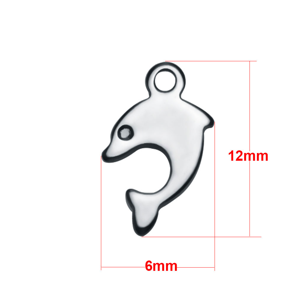 Small Stainless Steel Charm 06*12mm - Dolphin