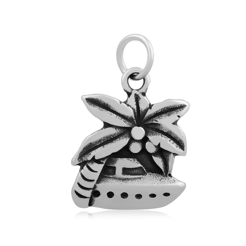 17*26mm Medium Stainless Steel Palm Charm - Tropical Cruise Boat