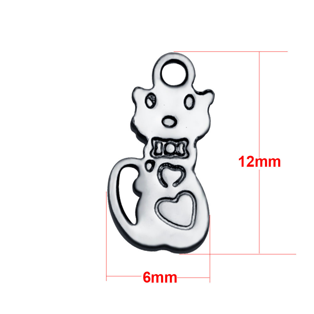 6*12mm Extra Small Stainless Steel Script Charm - Cat
