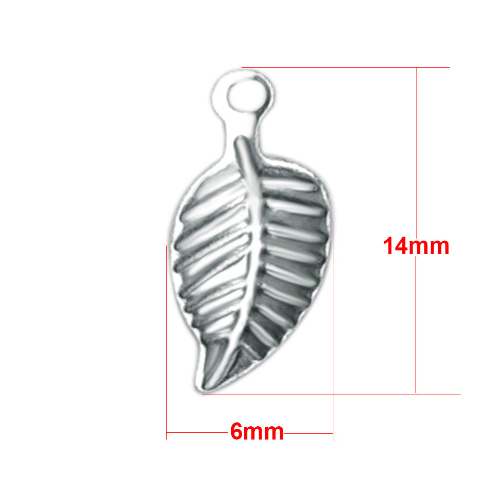 Small Stainless Steel Charm 06*14mm - Leaf