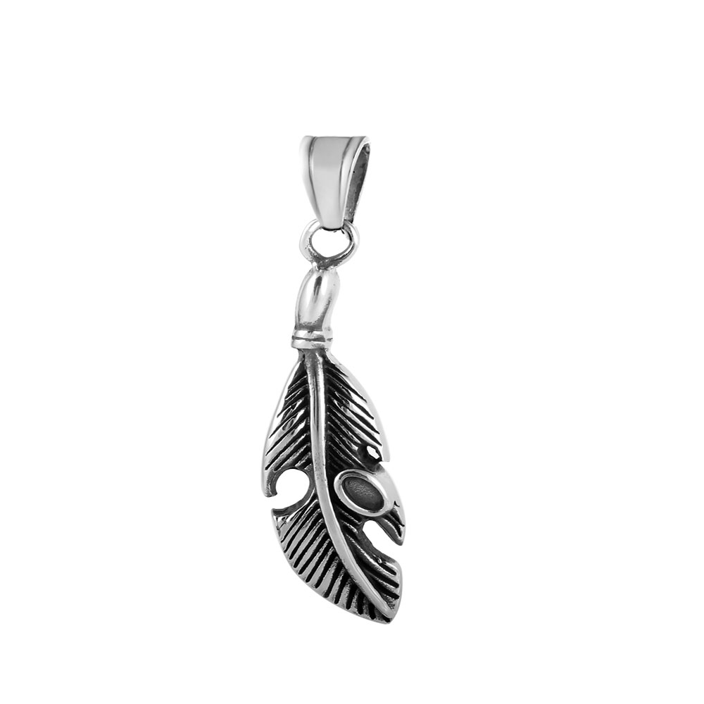 XLarge Stainless Steel Charm 07*44mm - Feather