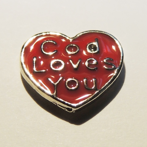 Memory Locket Charms Heart God Loves You - Red