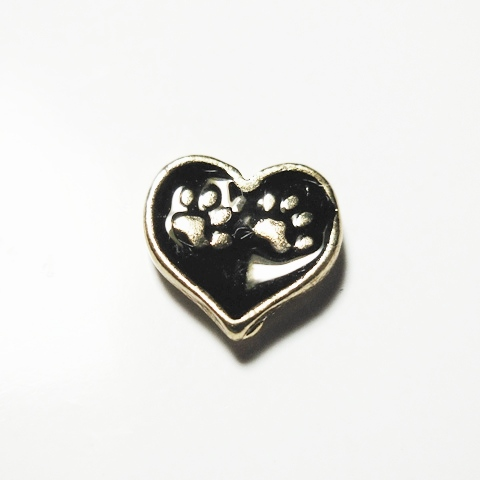 Memory Locket Charms Heart Dog Paws Black