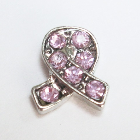 Memory Locket Charms Awareness Ribbons - Pink CZ Accents