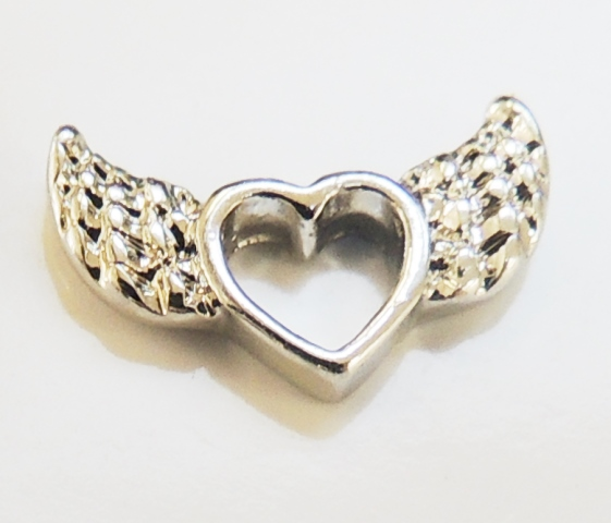 Memory Locket Charms Heart with Wings Silver