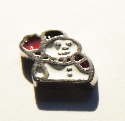 Memory Locket Charms Holiday Snowman with Black Hat
