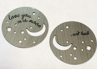 Memory Locket Plates I Love you to the moon & back - 2 sided