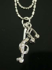 Clef & Music Note Anklet - Doble Strand Chain - Clear